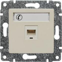 510363 Gniazdo telefoniczne  pojedyncze, z etykietą, bez ramki