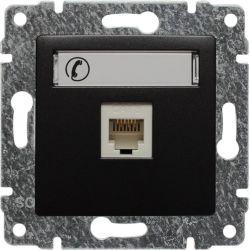 516163 Gniazdo telefoniczne  pojedyncze, z etykietą, bez ramki