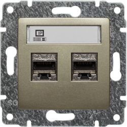 515068 Gniazdo komputerowe podwójne 2xRJ45, bez ramki