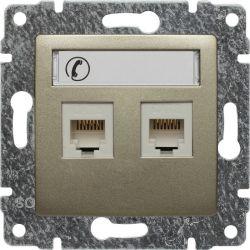 515064 Gniazdo telefoniczne podwójne, z etykietą, bez ramki
