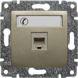 515063 Gniazdo telefoniczne  pojedyncze, z etykietą, bez ramki