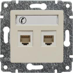 510364 Gniazdo telefoniczne podwójne, z etykietą, bez ramki