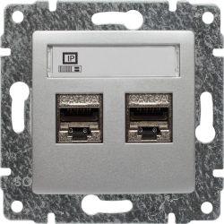 514068 Gniazdo komputerowe podwójne 2xRJ45, bez ramki