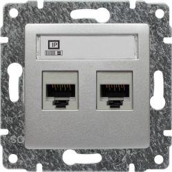 514067 Gniazdo komputerowe podwójne 2xRJ45, bez ramki