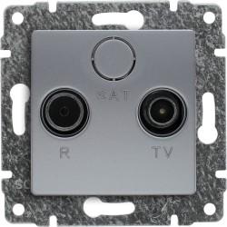 514075 Gniazdo antenowe RTV przelotowe, bez ramki
