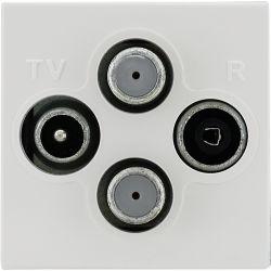 350478 Gniazdo antenowe TV SAT podwójn, bez ramki,