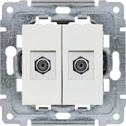 450258 Gniazdo - złącze TV podwójne żeńskie typ F, bez ramki