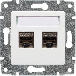 510268 Gniazdo komputerowe podwójne 2xRJ45, bez ramki