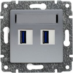 514057 Ładowarka USB 3.0 podwójna 5V 2A, bez ramki