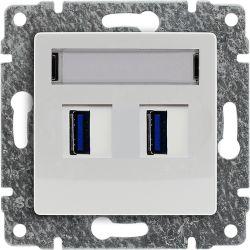590457 Ładowarka USB 3.0 podwójna 5V 2A z powłoką antybakteryjną, bez ramki