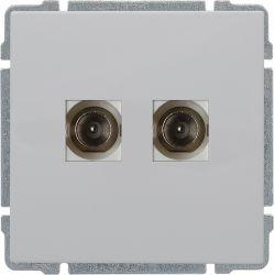 660456 Gniazdo TV podwójne z listwą zaciskową, bez ramki