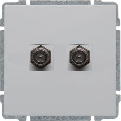 660458 Gniazdo TV podwójne żeńskie typ F, bez ramki
