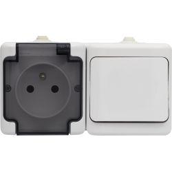 181480 Zestaw poziomy: gniazdo pojedyncze IP 54 + łącznik pojedynczy IP54, białe, klapka dymna
