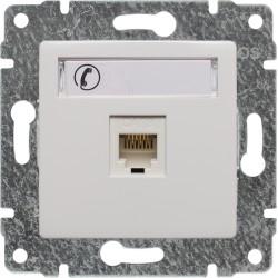 510463 Gniazdo telefoniczne  pojedyncze, z etykietą, bez ramki