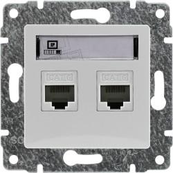 510467 Gniazdo komputerowe podwójne 2xRJ45, bez ramki